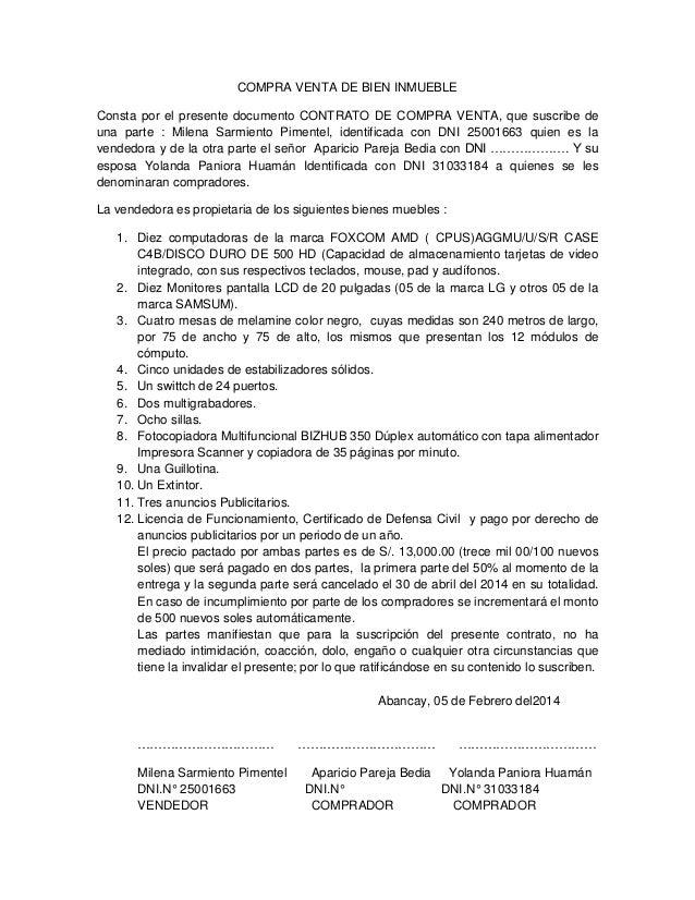 Compra venta de bien inmueble for Contrato documento