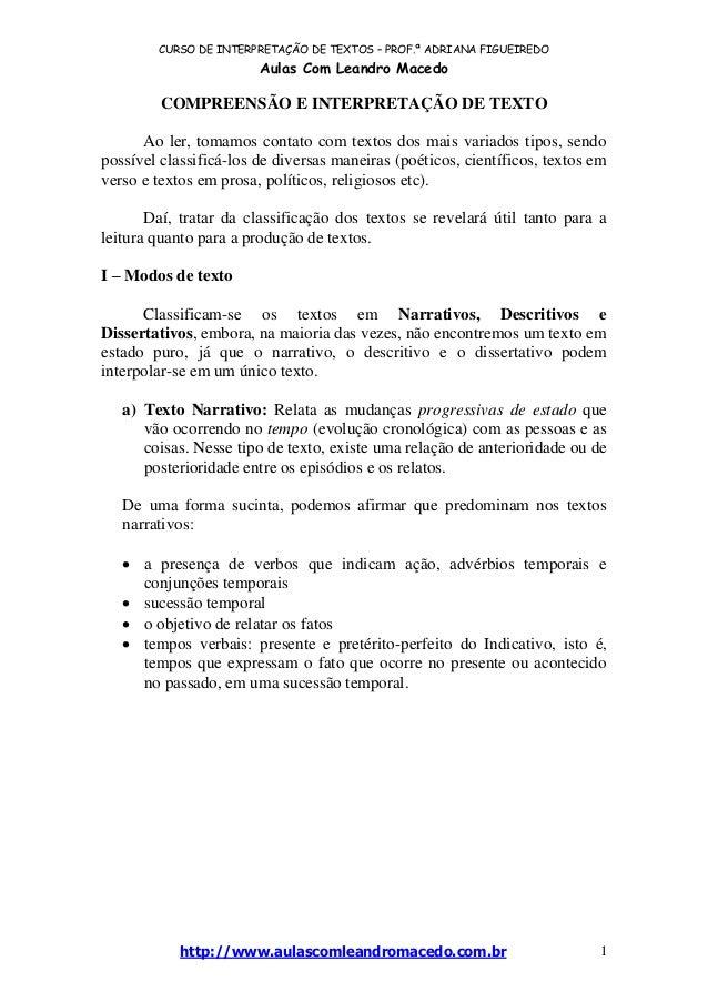 CURSO DE INTERPRETAÇÃO DE TEXTOS – PROF.ª ADRIANA FIGUEIREDO Aulas Com Leandro Macedo http://www.aulascomleandromacedo.com...