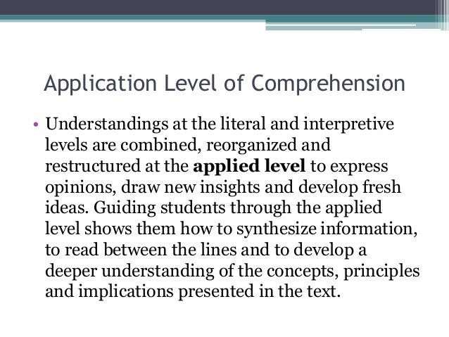 levels of comprehension Teaching reading and viewing comprehension strategies and activities for years 1-9 queensland curriculum & assessment authority september 2010 questions and discuss the different levels of comprehension involved in answering the questions.
