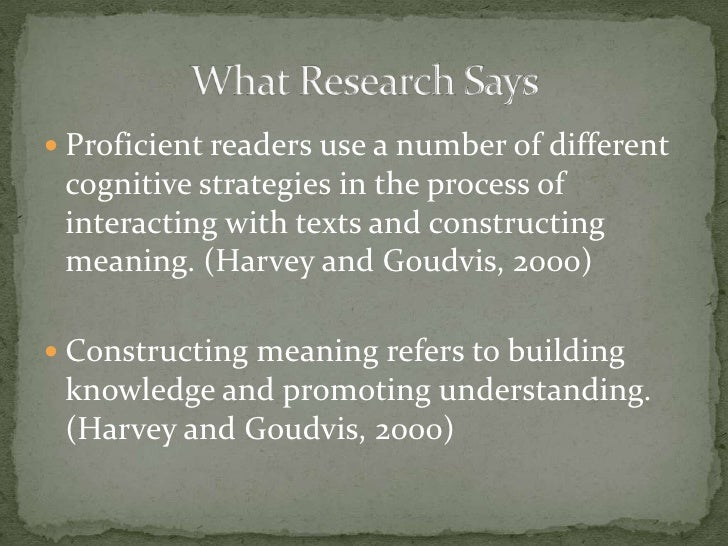 Proficient readers use a number of different cognitive strategies in the process of interacting with texts and constructin...