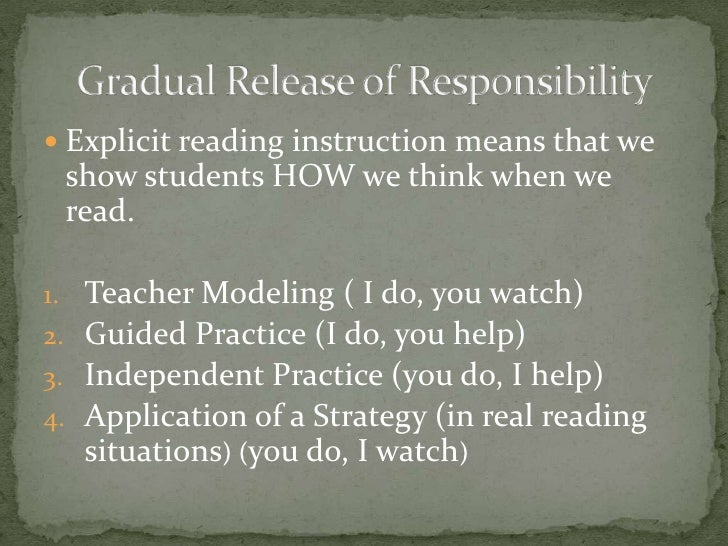 <ul><li>Explicit reading instruction means that we show students HOW we think when we read. </li></ul>Teacher Modeling ( I...