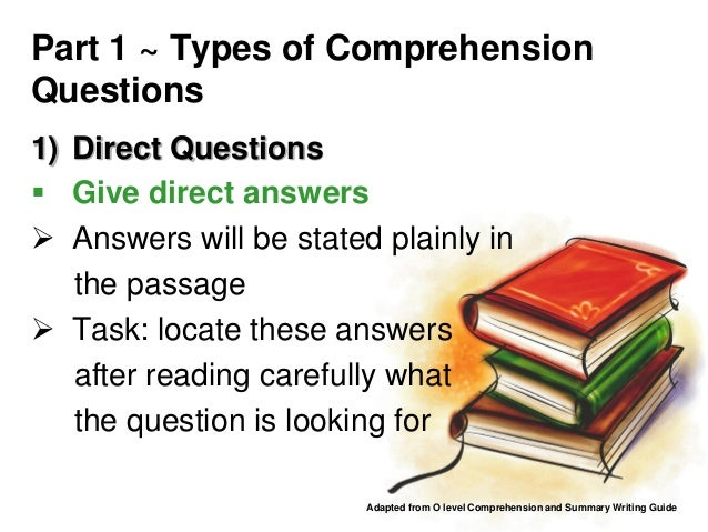 Comprehension question types