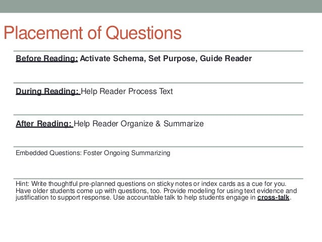 how to write comprehension questions