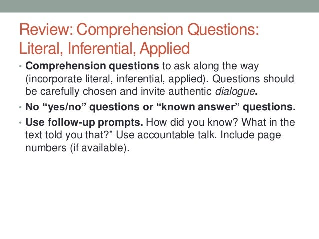 Comprehension Questions Tutorial (Literal, Inferential, Applied)