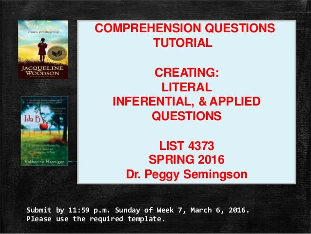 Submit by 11:59 p.m. Sunday of Week 7, March 6, 2016. Please use the required template. COMPREHENSION QUESTIONS TUTORIAL C...