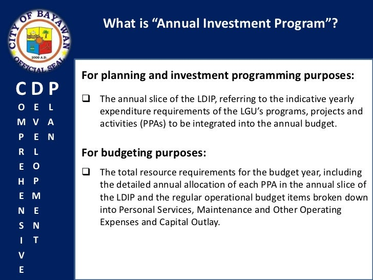 Annual investment plan of lgu hooded vest scuba diving