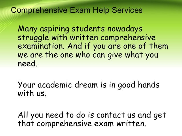 Comprehensive exam and dissertation services