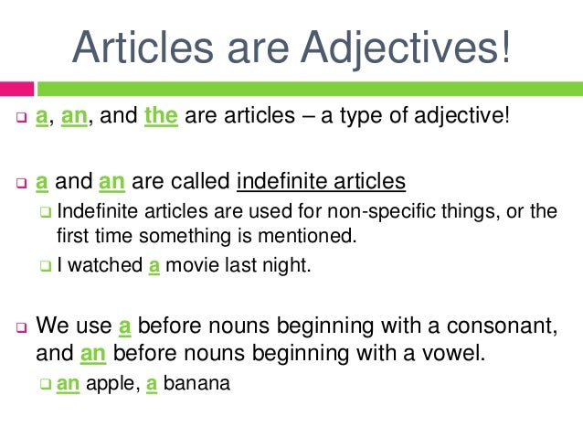 article previous to adjective grammar