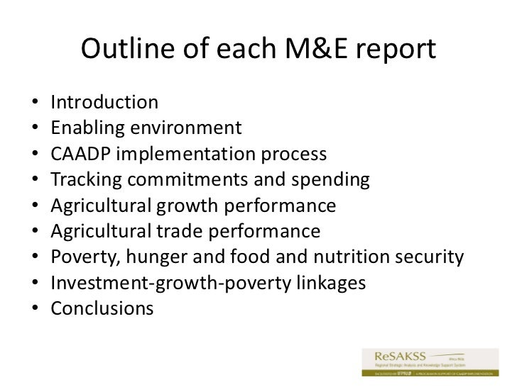 Comprehensive Monitoring and Evaluation (M&E) Report for