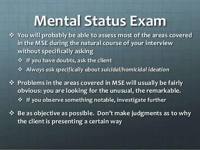 Comprehensive Mental Status Exam
