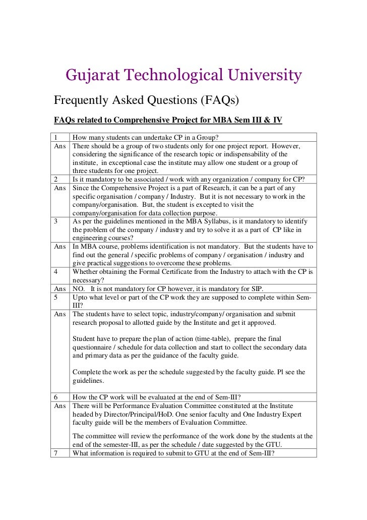 Gujarat Technological UniversityFrequently Asked Questions (FAQs)FAQs related to Comprehensive Project for MBA Sem III & I...
