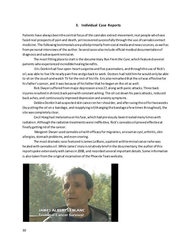 30 3. Individual Case Reports Patientshave alwaysbeenthe central focusof the cannabisextractmovement;real people whohave f...