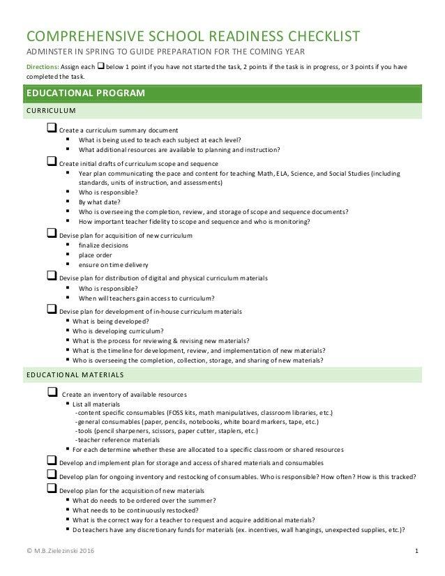 Comprehensive School Readiness Checklist MBZ