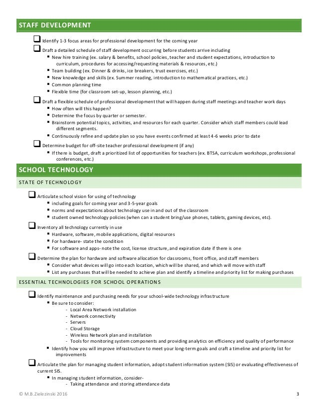 Comprehensive School Readiness Checklist Mbz