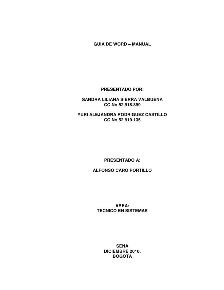 GUIA DE WORD – MANUAL<br />PRESENTADO POR:<br />SANDRA LILIANA SIERRA VALBUENA<br />CC.No.52.918.899<br />YURI ALEJANDRA R...