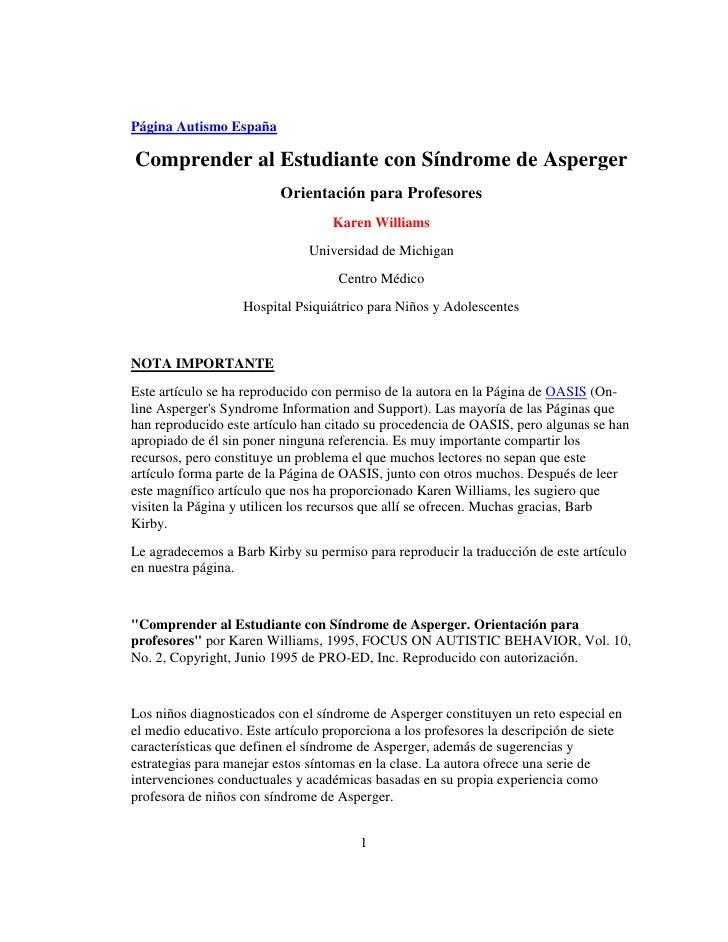 Página Autismo EspañaComprender al Estudiante con Síndrome de Asperger                          Orientación para Profesore...