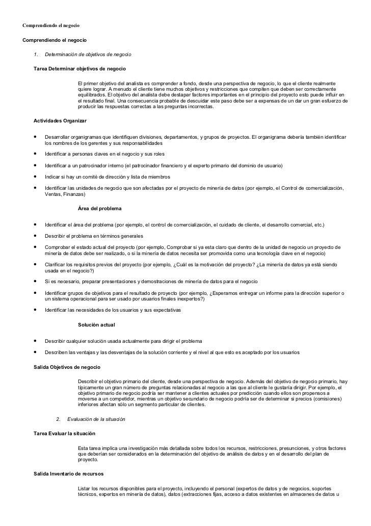 Comprendiendo el negocioComprendiendo el negocio    1.   Determinación de objetivos de negocio    Tarea Determinar objetiv...
