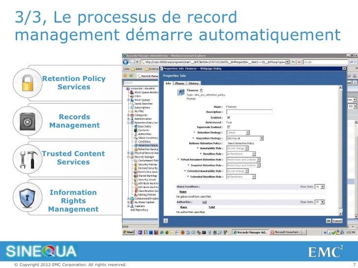 3/3, Le processus de recordmanagement démarre automatiquement             Retention Policy RPS            Services        ...