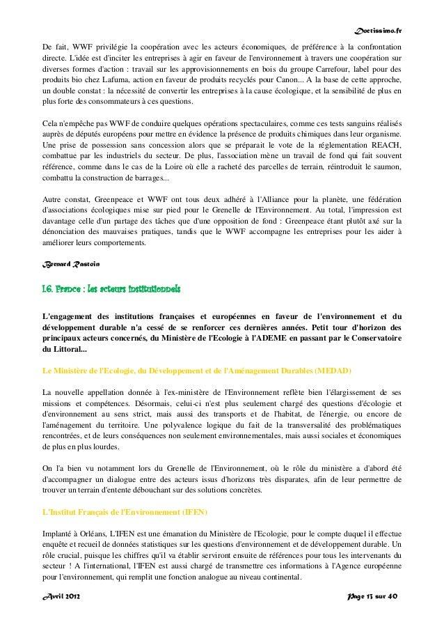Doctissimo.fr Avril 2012 Page 13 sur 40 De fait, WWF privilégie la coopération avec les acteurs économiques, de préférence...