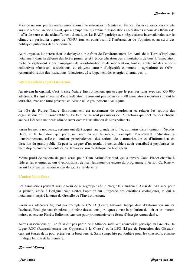 Doctissimo.fr Avril 2012 Page 16 sur 40 Mais ce ne sont pas les seules associations internationales présentes en France. P...
