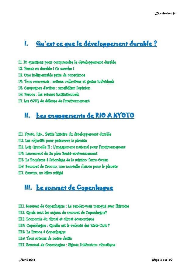 Doctissimo.fr Avril 2012 Page 2 sur 40 I. Qu'est ce que le développement durable ? I.1. 10 questions pour comprendre le dé...