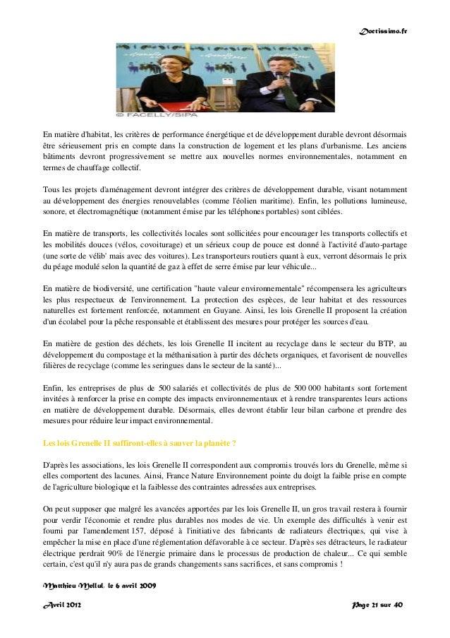 Doctissimo.fr Avril 2012 Page 21 sur 40 En matière d'habitat, les critères de performance énergétique et de développement ...