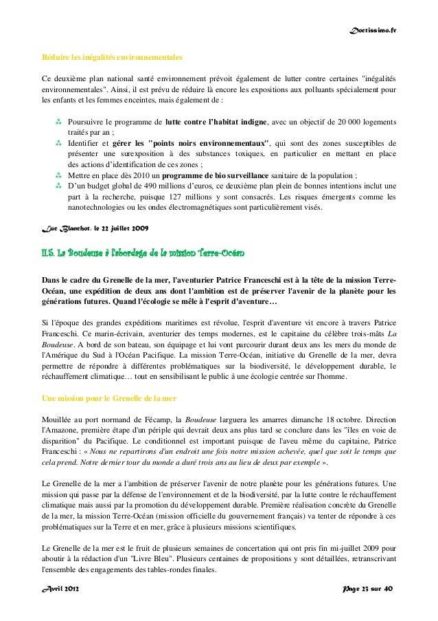 Doctissimo.fr Avril 2012 Page 23 sur 40 Réduire les inégalités environnementales Ce deuxième plan national santé environne...