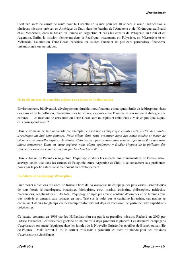 Doctissimo.fr Avril 2012 Page 24 sur 40 C'est une sorte de carnet de route pour le Grenelle de la mer pour les 10 années à...