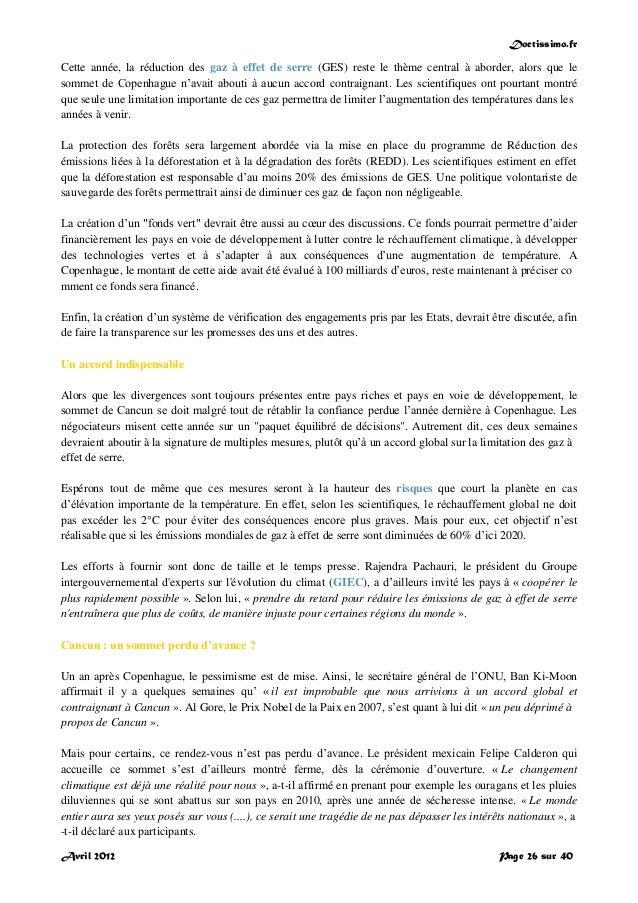 Doctissimo.fr Avril 2012 Page 26 sur 40 Cette année, la réduction des gaz à effet de serre (GES) reste le thème central à ...