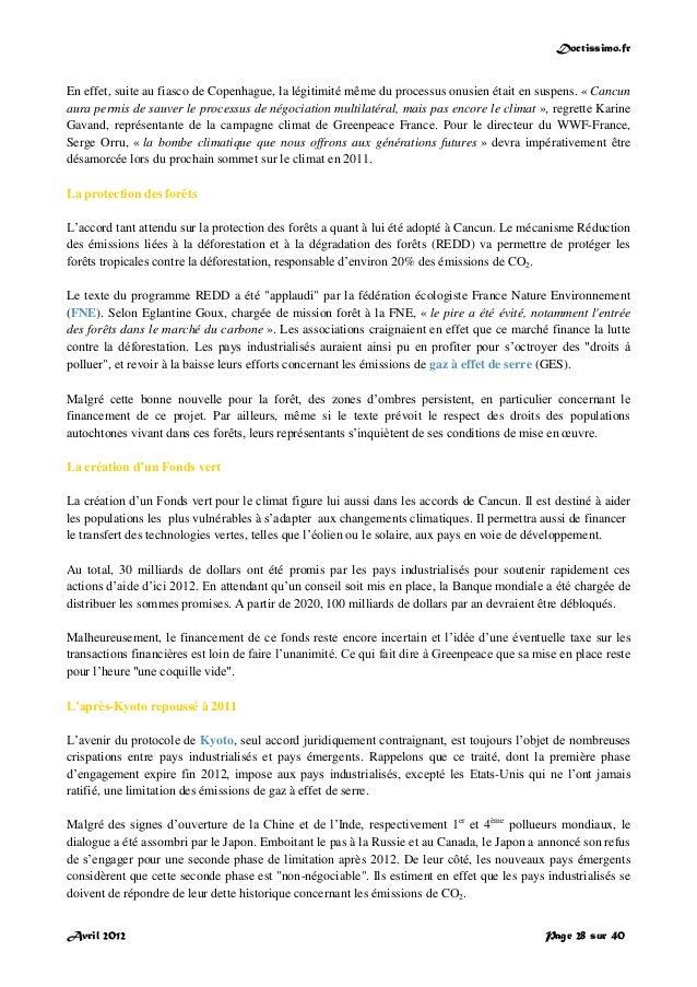 Doctissimo.fr Avril 2012 Page 28 sur 40 En effet, suite au fiasco de Copenhague, la légitimité même du processus onusien é...