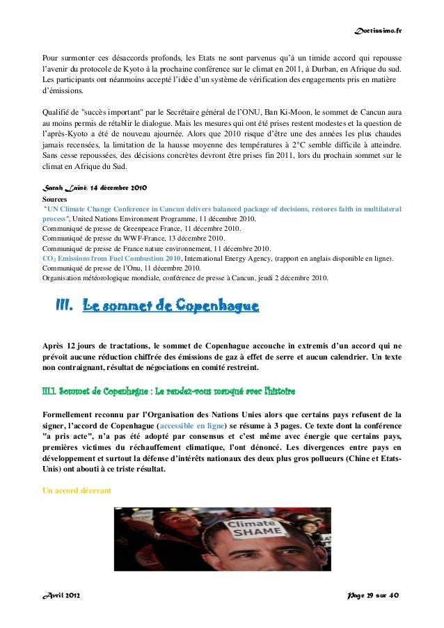 Doctissimo.fr Avril 2012 Page 29 sur 40 Pour surmonter ces désaccords profonds, les Etats ne sont parvenus qu'à un timide ...