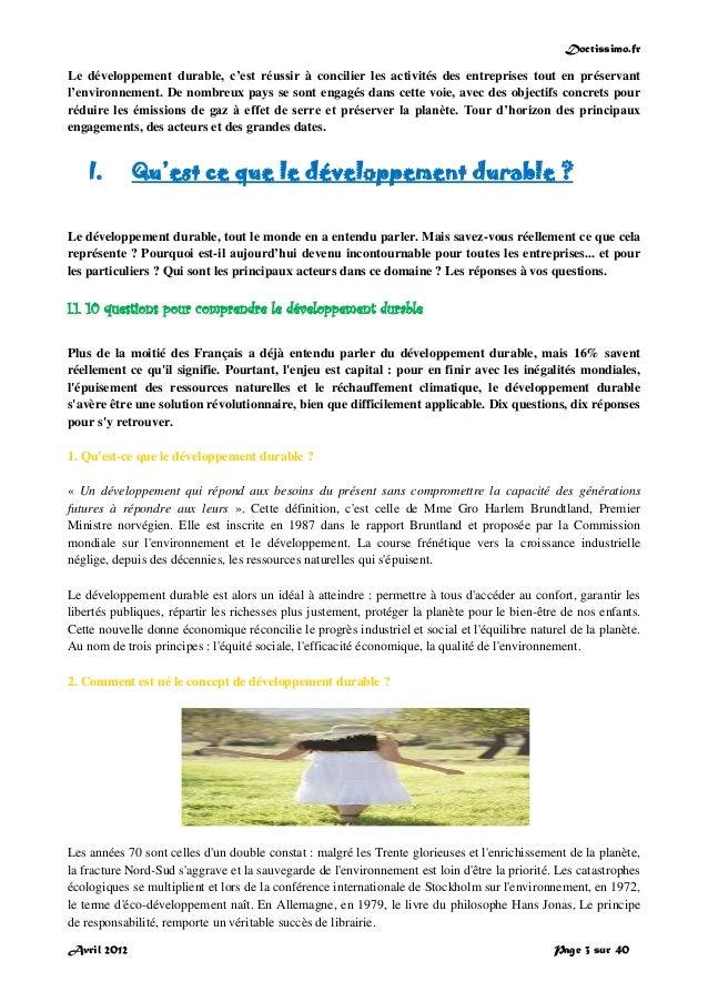 Doctissimo.fr Avril 2012 Page 3 sur 40 Le développement durable, c'est réussir à concilier les activités des entreprises t...
