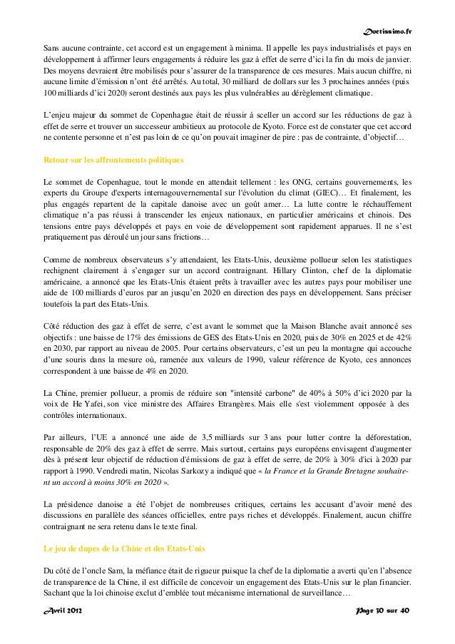 Doctissimo.fr Avril 2012 Page 30 sur 40 Sans aucune contrainte, cet accord est un engagement à minima. Il appelle les pays...