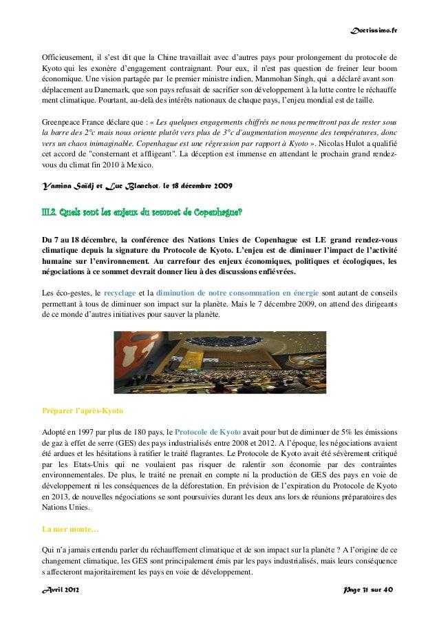 Doctissimo.fr Avril 2012 Page 31 sur 40 Officieusement, il s'est dit que la Chine travaillait avec d'autres pays pour prol...