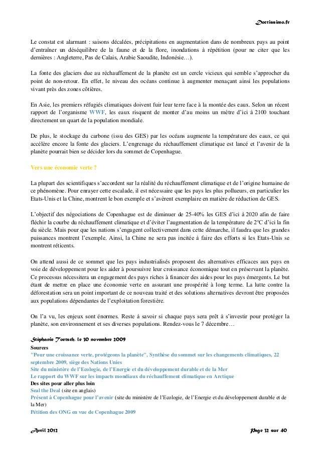Doctissimo.fr Avril 2012 Page 32 sur 40 Le constat est alarmant : saisons décalées, précipitations en augmentation dans de...