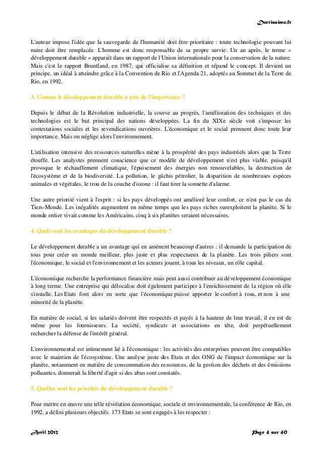 Doctissimo.fr Avril 2012 Page 4 sur 40 L'auteur impose l'idée que la sauvegarde de l'humanité doit être prioritaire : tout...