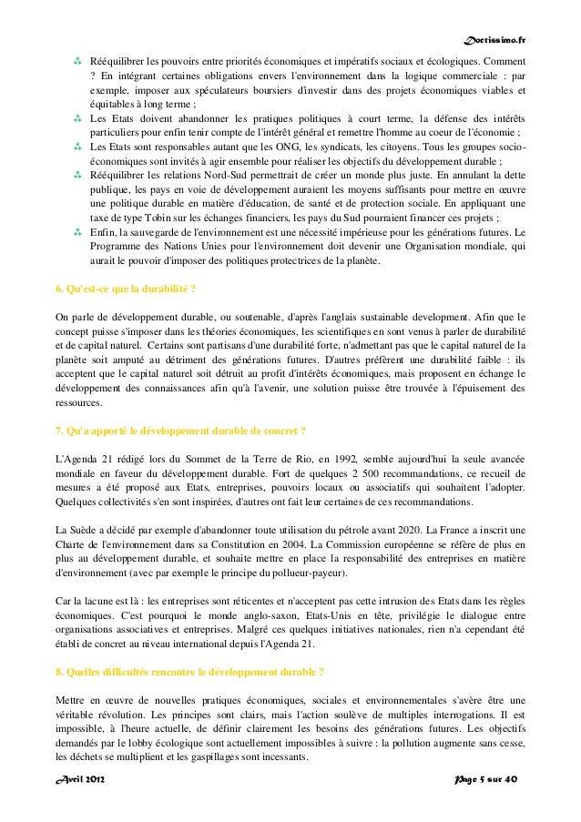 Doctissimo.fr Avril 2012 Page 5 sur 40  Rééquilibrer les pouvoirs entre priorités économiques et impératifs sociaux et éc...