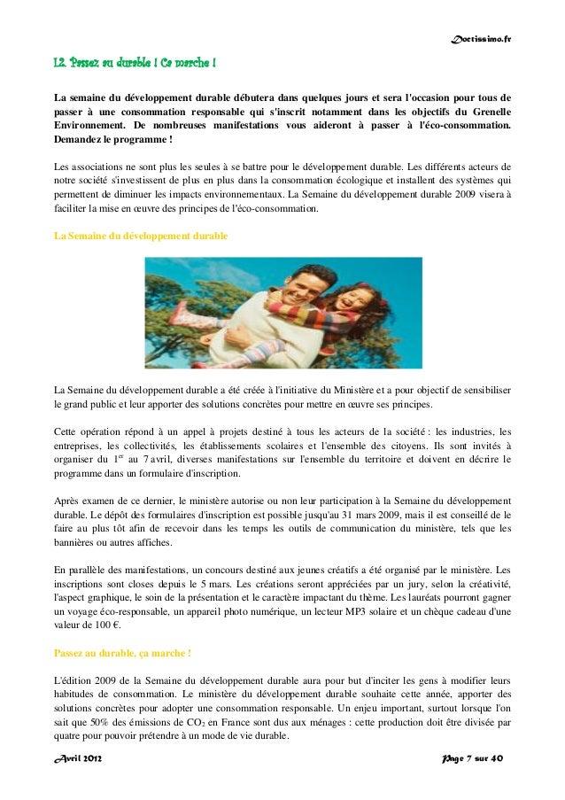 Doctissimo.fr Avril 2012 Page 7 sur 40 I.2. Passez au durable ! Ca marche ! La semaine du développement durable débutera d...