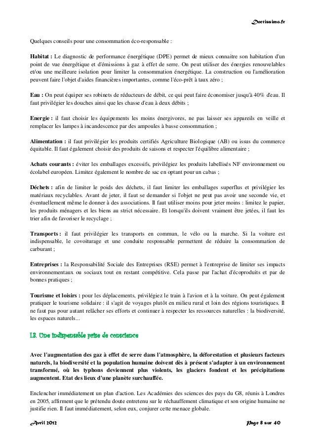 Doctissimo.fr Avril 2012 Page 8 sur 40 Quelques conseils pour une consommation éco-responsable : Habitat : Le diagnostic d...