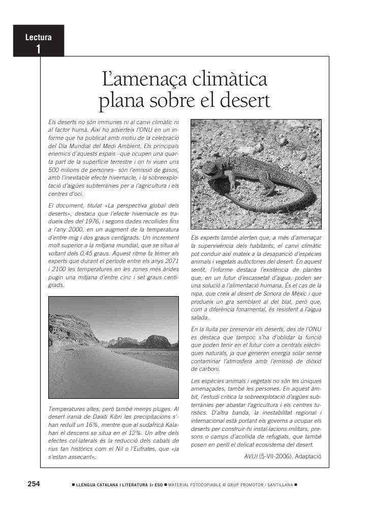 Lectura   1                            L'amenaça climàtica                           plana sobre el desert       Els deser...