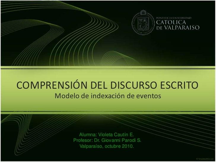 COMPRENSIÓN DEL DISCURSO ESCRITO<br />Modelo de indexación de eventos<br />Alumna: Violeta Cautín E.<br /> Profesor: Dr. G...