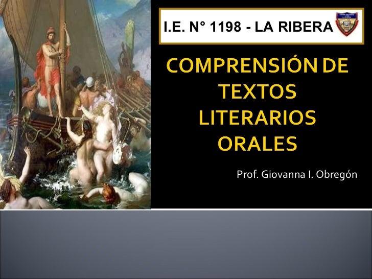 Prof. Giovanna I. Obregón I.E. N° 1198 - LA RIBERA