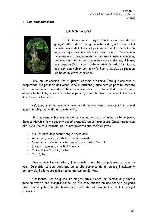 UNIDAD 11                                                    COMPRENSIÓN LECTORA: La ninfa eco                            ...