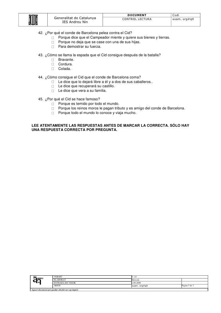 DOCUMENT                   Codi                       Generalitat de Catalunya          CONTROL LECTURA              exam....