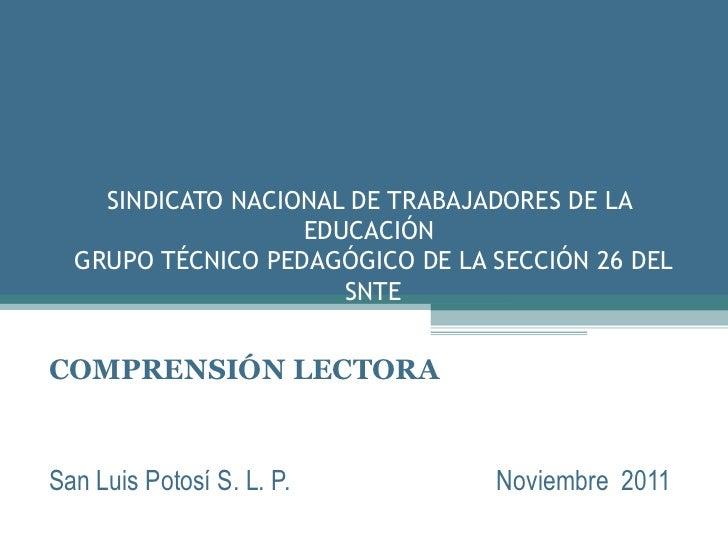 SINDICATO NACIONAL DE TRABAJADORES DE LA                   EDUCACIÓN  GRUPO TÉCNICO PEDAGÓGICO DE LA SECCIÓN 26 DEL       ...