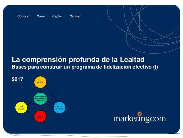 Josep Alet, Visión Cliente® La comprensión profunda de la Lealtad Bases para construir un programa de fidelización efectiv...