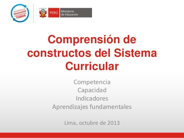 Comprensión de  constructos del Sistema  Curricular  Competencia  Capacidad  Indicadores  Aprendizajes fundamentales  Lima...