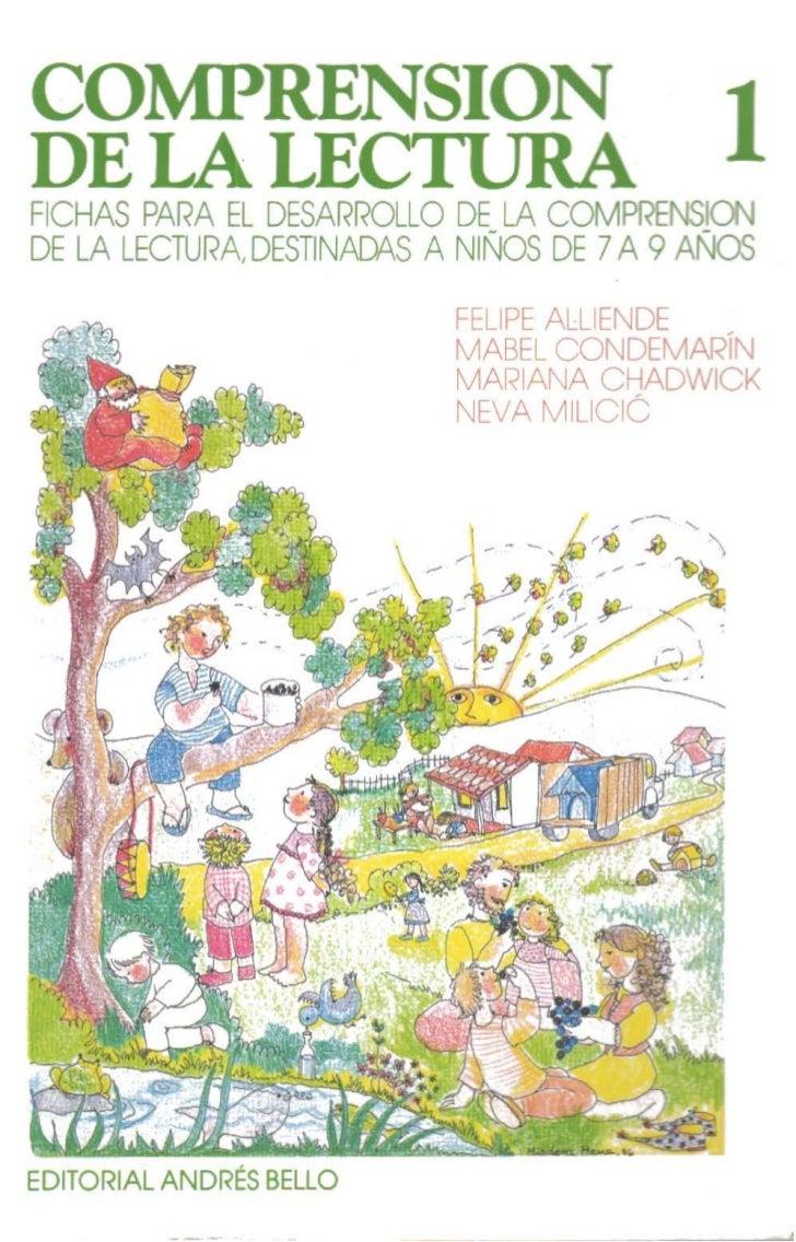 COMPRENSION 1DE PARA EL DESARROLLO DE LA COMPRENSIOO FICHAS       LA LEDE LA LECTURA DESTINACVS A NIÑOS DE 7A 9 AÑOS      ...