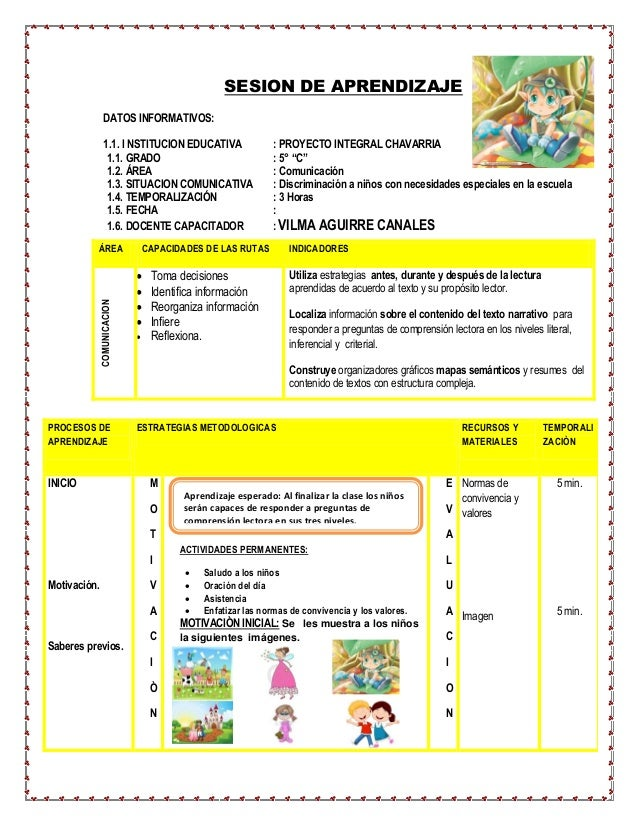 "SESION DE APRENDIZAJE  DATOS INFORMATIVOS:  1.1. I NSTITUCION EDUCATIVA : PROYECTO INTEGRAL CHAVARRIA  1.1. GRADO : 5° ""C""..."
