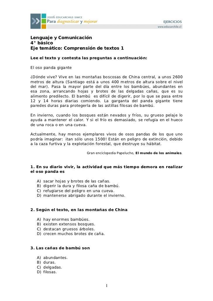 Lenguaje y Comunicación 4° básico Eje temático: Comprensión de textos 1  Lee el texto y contesta las preguntas a continuac...